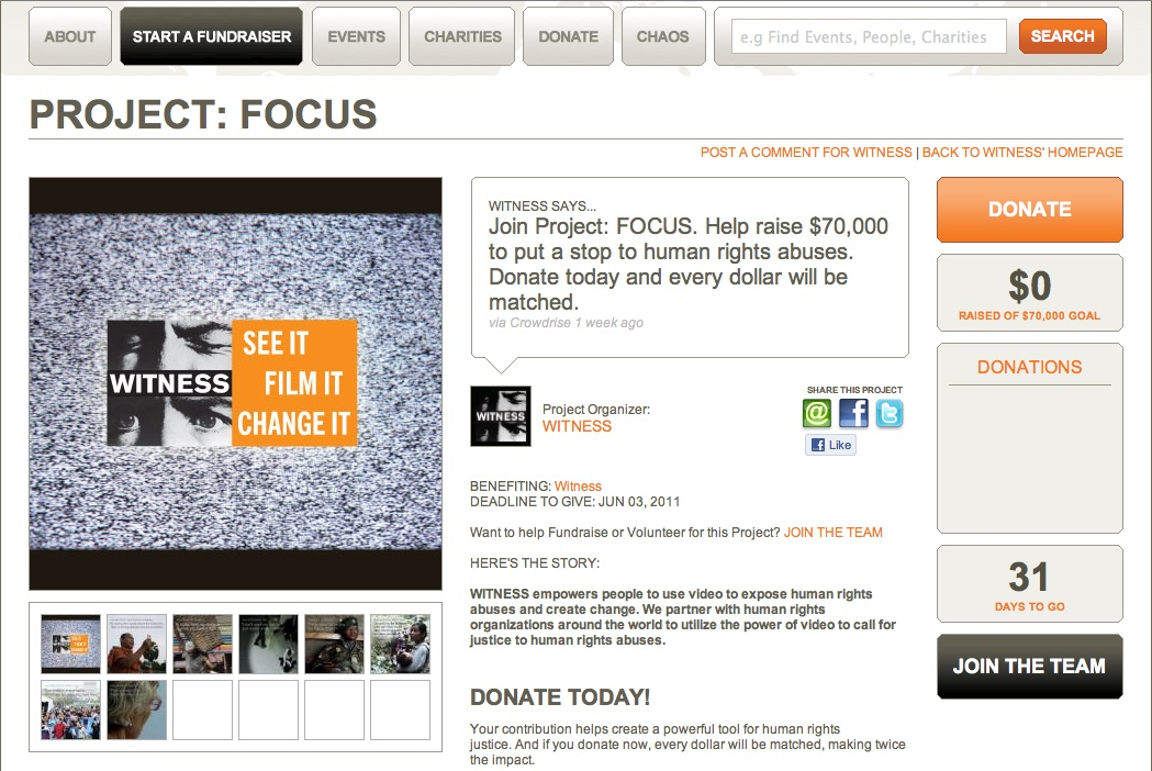 Screenshot of Project: FOCUS on Crowdrise.com