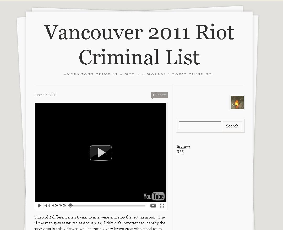 Vancouver 2011 Riot Criminal List