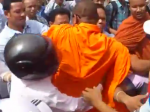 Screen shot from video by LicadhoCanada of the Venerable Souvath being arrested in Phnom Penh, May 24, 2012