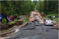 View of Vermilion Road in Duluth after flooding within Tischer Creek drainage. Photo: John Goodge