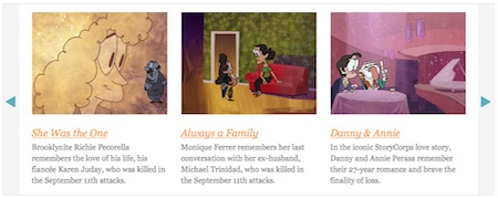 "Three examples of Animated Shorts from Storycorps, left to right: ""She Was the One""; ""Always a Family""; ""Danny & Annie"""