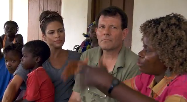 Nick Kristof and Eva Mendes on a visit in Sierra Leone
