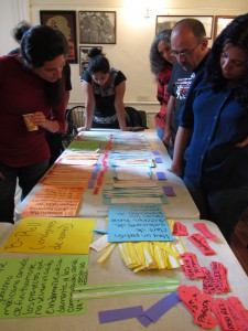 Activists at a WITNESS training select testimonies during a paper edit of the new video. 