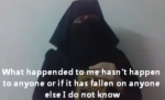 A survivor of rape speaks out, while concealing her face behind a scarf.