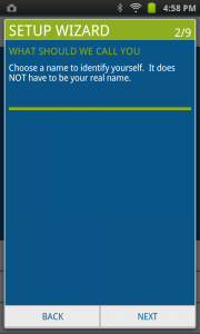The user is asked to enter a name or pseudonym.