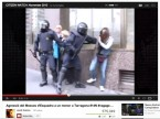 Screen shot from video uploaded to YouTube showing riot police beat a teenage boy in Tarragona, Spain