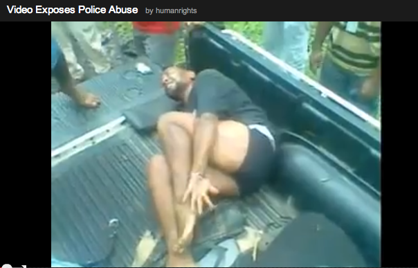 A screenshot from the video of the beating.  WARNING: This video is extremely graphic.