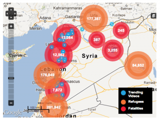 A map of the region plots fatalities, refugees, and citizen videos from the Syrian conflict.