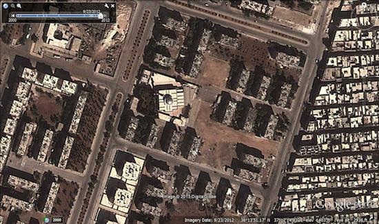 Image © 2013 Digital Globe - © Google Earth - lat 36.230881° lon 37.204119° - September 23, 2012
