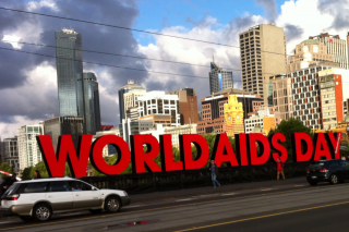 The world's largest World AIDS Day sign by YEAH (Youth Empowerment Against HIV/AIDS), Melbourne, Australia. Photo  (c) Andrew Henshaw, 2013