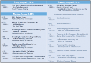 US Africa Summit Schedule Detail