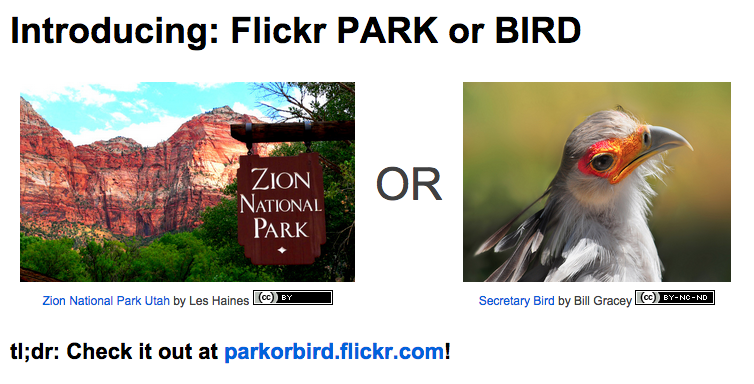 Flickr announced Park or Bird app