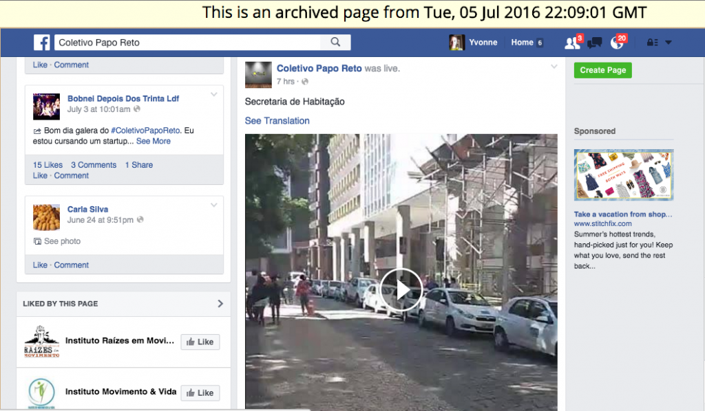 Interactive Facebook wall, including published live video, as captured by webrecorder and browsed using desktop webarchiveplayer.