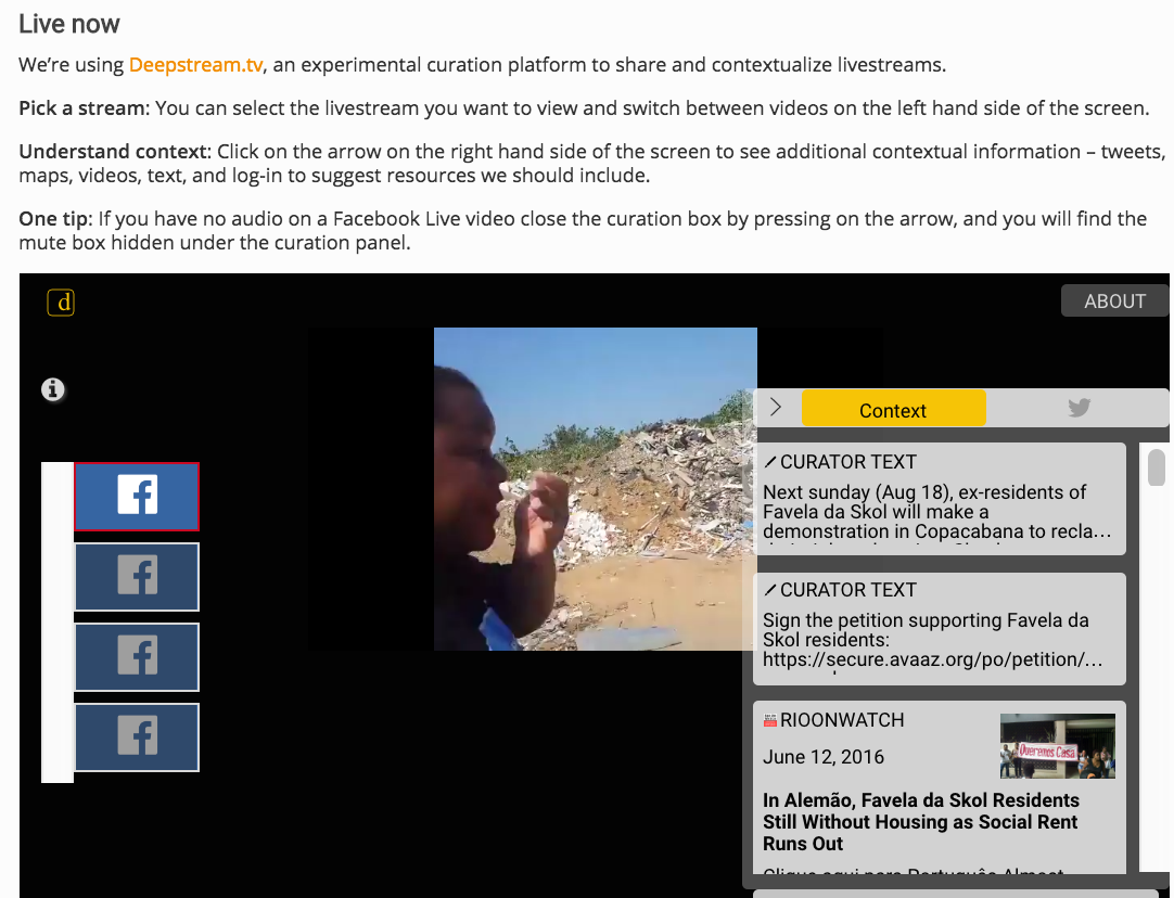 Live.witness.org Deepstream Contextualization of Favela Skol Livestreams