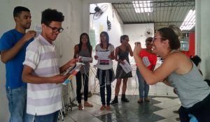Youth in Santa Cruz participate in a video exercise.