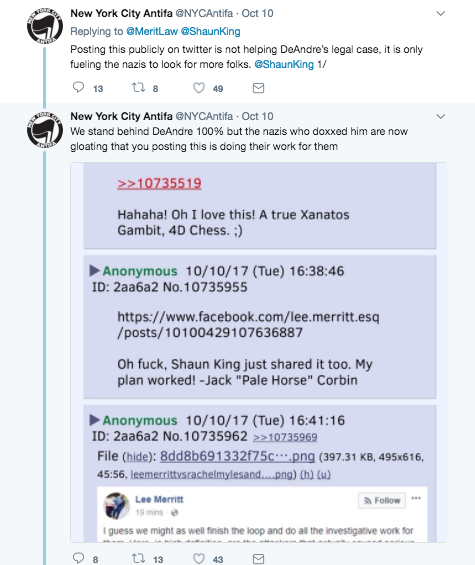 Screenshot of Twitter comments about the video showing Crews getting hit by a counter-protester.